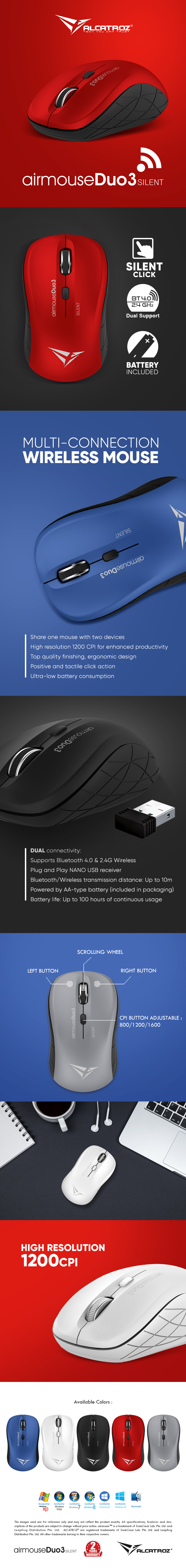 ALCATROZ BLUETOOTH 3.0/WIRELESS MOUSE DUO 3 SILENT BLACK eDM Airmouse Duo3 Silent 1