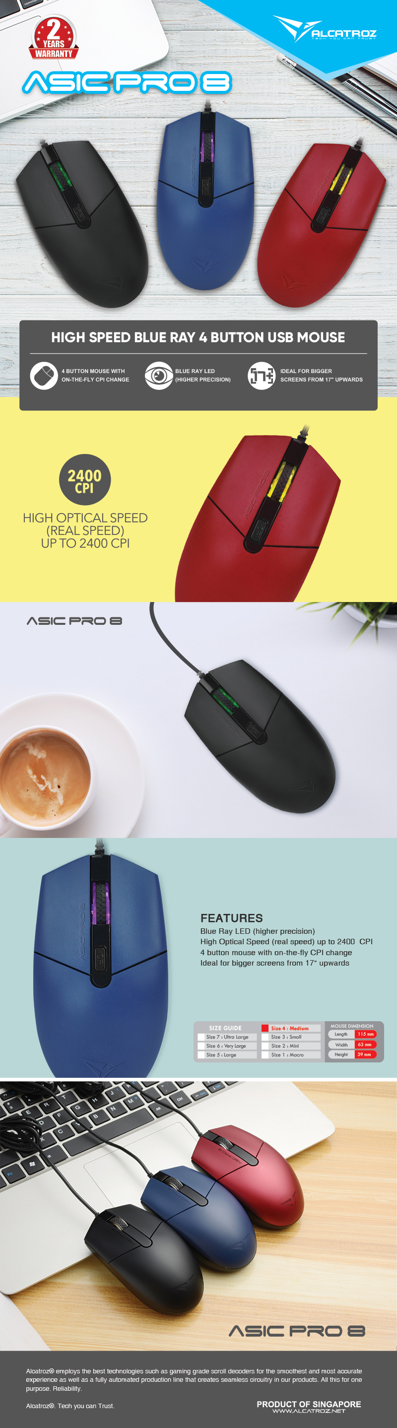 ALCATROZ WIRED HIGH SPEED BLUE RAY 4 BUTTON MOUSE ASIC PRO 8 RED eDM Asic Pro 8 1